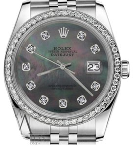 Rolex Ladies 26mm Datejust Black MOP Mother Of Pearl Dial with Diamond Watch