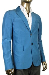 Gucci Cotton Silk Two Button Teal Blazer