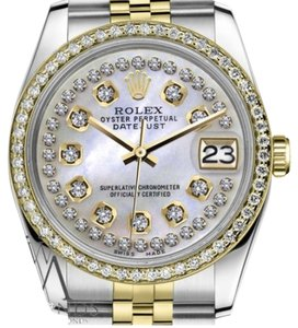 Rolex Men`s 36mm Datejust 2 Tone White Mother Of Pearl String Diamond Dial