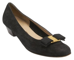 Salvatore Ferragamo Suede Bow Black Pumps