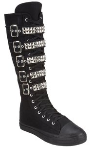 Demonia Knee Hi Sneaker Studded Lace Up Black with silver studs Boots