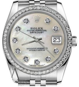 Rolex Woman`s 26mm Datejust White MOP Mother Of Pearl Diamond Dial Watch