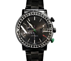 Gucci Men's Watch 3.50 Carats TW Aftermarket set Black Diamonds