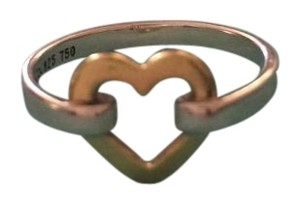 Tiffany & Co. Tiffany Co. 18kt Yellow Gold 925 Sterling Silver Open Heart Ring