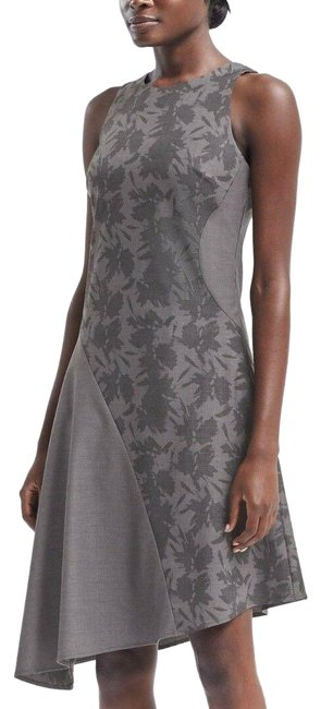 Item - Grey Bias Cut Colorblock Asymmetric Hem Fit and Flare Mid-length Night Out Dress Size 10 (M)
