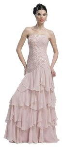 Sue Wong Tiered Full Length Strapless Dress
