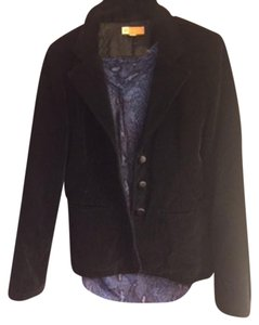 Tulle Velour Satin Buttons Black Blazer