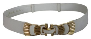 Judith Leiber Judith Leiber White Snake Embossed Small Leather Belt Gold Hardware