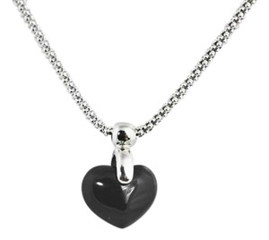 Other Onyx Heart 14K White Gold Pendant, Gemstone Jewelry.