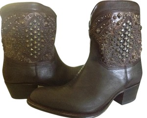 Frye Deborah Studded Leather Short Brown Boots