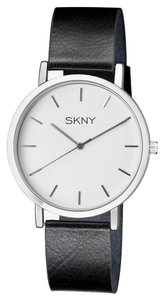 SKNY SKNY Men's SK1001 Silver and Black Genuine Leather Watch