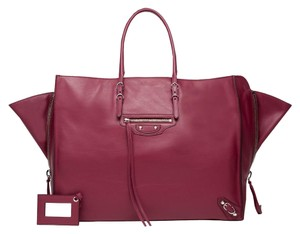 Balenciaga Papier Leather Shoulder Tote in Rouge Pourpre
