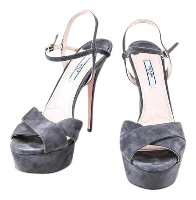 Item - Grey Peep-toe Ankle-strap Suede Sandals Size US 10 Regular (M, B)