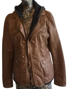 Montanaco Faux Leather Hooded brown Leather Jacket