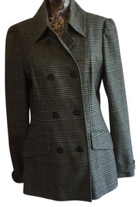 Halogen Plaid Double Breasted Flattering Pea Coat