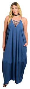 Blue Maxi Dress by Other Plus Size Curvy Lace Up Spaghetti Strap