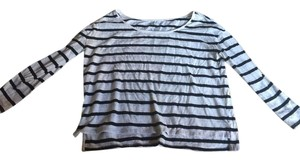 American Eagle Outfitters Top White and Navy Blue striped