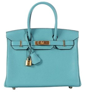 Herms Blue Bleu Saint Cyr Birkin 30 Satchel