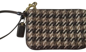 Coach Coach Plaid Houndstooth Wristlet Pouch Bag