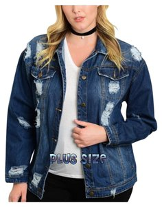 Jean Plus Size Dark Wash Denim Womens Jean Jacket