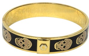 Alexander McQueen Alexander McQueen Signature Gold And Black Skull Bangle Bracelet