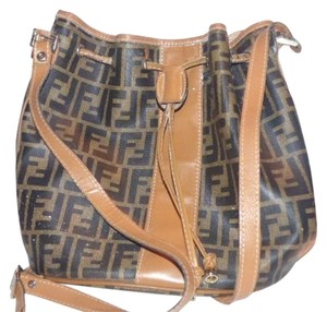 Fendi Drawstring Top Body Classic Design Large F Logo Print Restored Lining Satchel in Brown & Black