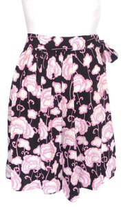 Prada Black Pleated Wpink Floral Waist Tie Skirt Black,Pink,Cream