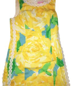 Lilly Pulitzer short dress Yellow White accents Green and Blue fl on Tradesy