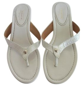 Coach Wedge White Sandals