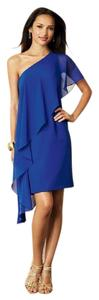 Alfred Angelo Navy Chiffon Blue Number Formal Bridesmaid/Mob Dress Size 10 (M)