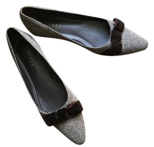 Ralph Lauren Tweed Velvet Kitten Heel Brown Flats