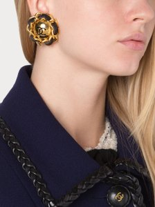 Chanel Chanel RARE Vintage XLarge Gold Leather Chain Button Earrings