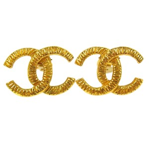 Chanel Chanel Vintage Gold Large CC Earrings In Box