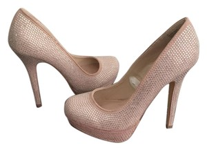 Betseyville Nude Heels Clear Crystal Gems Betsey Johnson Nude pink Pumps