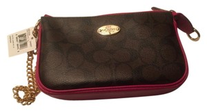 Coach Gold Chain Wristlet in Brown, Cranberry