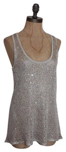 Willow & Clay Sequin Sparkled Sage Evening Night Out Top GRAY