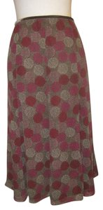 Sigrid Olsen Skirt Purple/Brown/White Dot Print