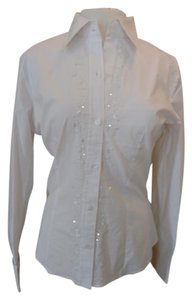 New York & Company Cotton/poly/spandex Sequin Trim Cuffs Button Down Shirt White
