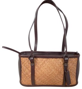 Tommy Bahama Leather Satchel in Natural Straw And Brown Leather.