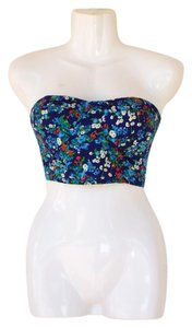 envy me Strapless Floral Crop Bustier Bandeau Top blue, green, red