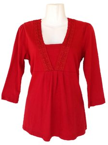 Croft & Barrow Longsleeve Lace V-neck Top red
