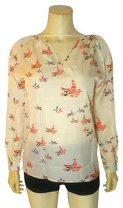 P2221 Long Sleeve Floral Top white, orange, green