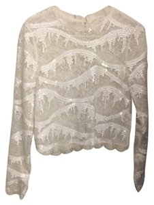 Endless Rose Sequined Winter Holiday Top white