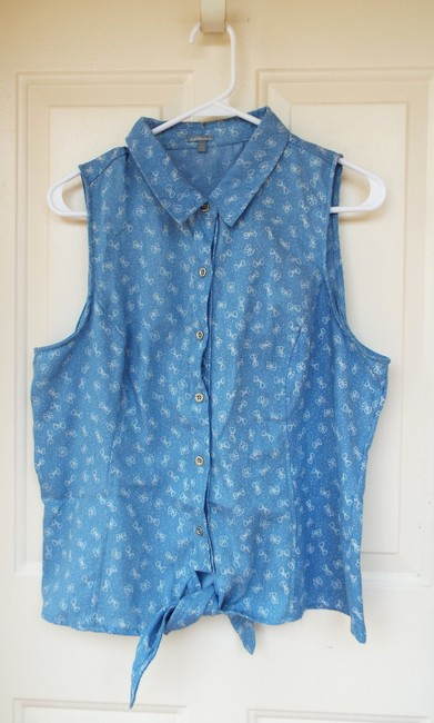 Charlotte Russe Sleeveless Denim Bows Summer Chambray Top blue, white
