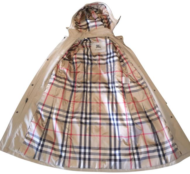 Item - Beige Hooded Classic Plaid Lined Rain Trench Coat Size 6 (S)