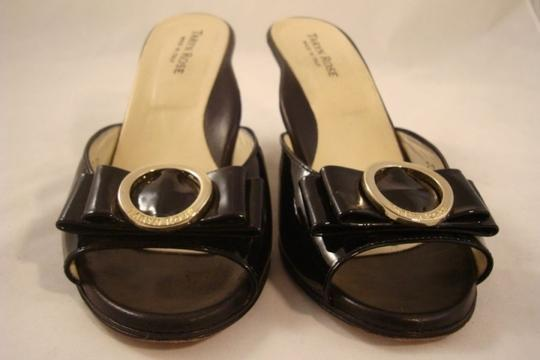 Taryn Rose Italian Peep Toe Patent Leather Comfortable Black Wedges