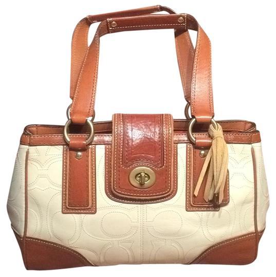 Preload https://item3.tradesy.com/images/coach-e0793-11330-ivory-and-light-brown-leather-satchel-19348002-0-2.jpg?width=440&height=440