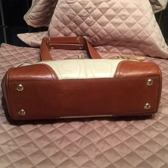 Coach Satchel in Ivory and Light brown