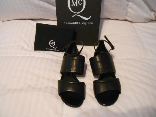 MCQ by Alexander McQueen Crocodile Embossed Wide Strap Design Made In Italy Black Sandals