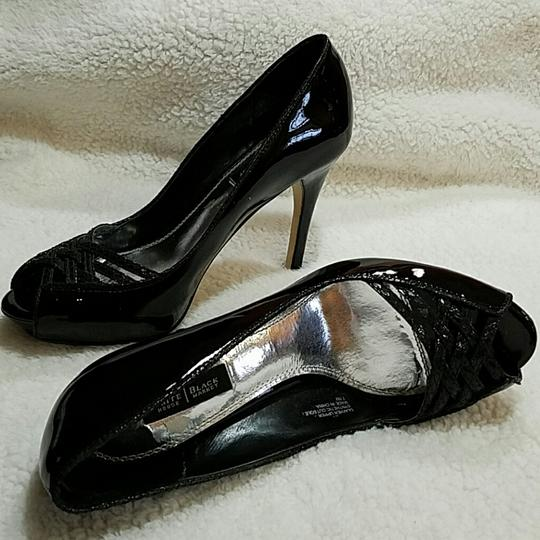 White House | Black Market High Heel Peep Toe Black patent Pumps